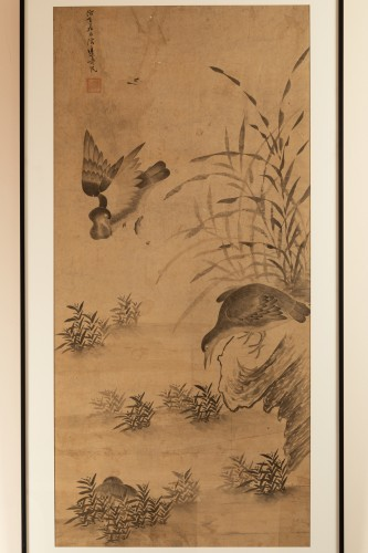 Geese and reeds - Ink wash painting Chinese Qing dynasty - Asian Works of Art Style