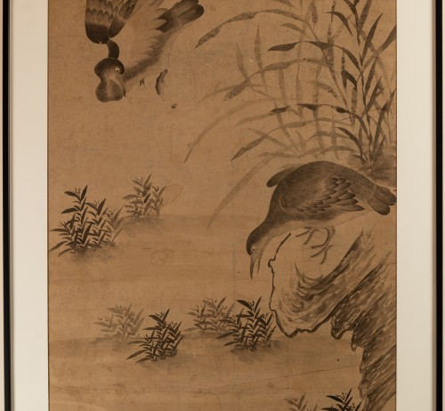 Asian Works of Art  - Geese and reeds - Ink wash painting Chinese Qing dynasty