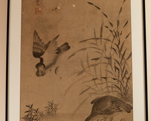 Geese and reeds - Ink wash painting Chinese Qing dynasty -