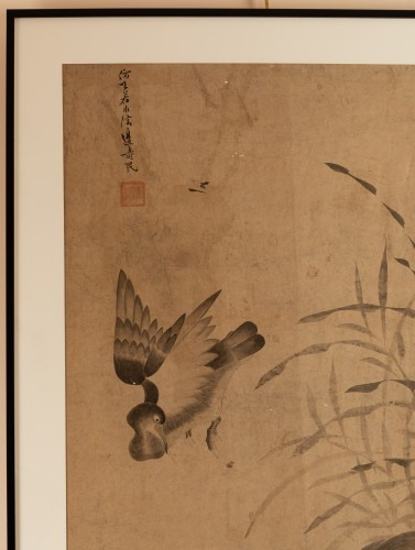 18th century - Geese and reeds - Ink wash painting Chinese Qing dynasty