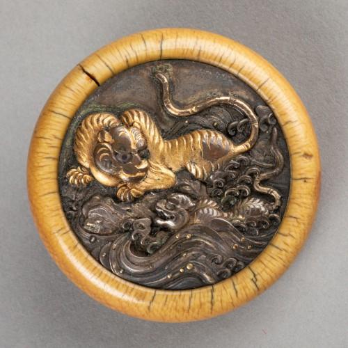Kagamibuta - Tigers, Japan Edo 19th century - Asian Works of Art Style