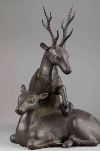 19th century - Bronze - Couple of deers