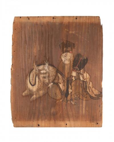 Ita-e Painting on a wood panel. Japan Edo