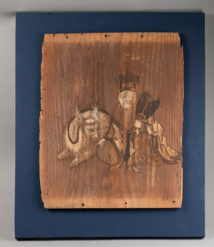 Ita-e Painting on a wood panel. Japan Edo - Asian Works of Art Style
