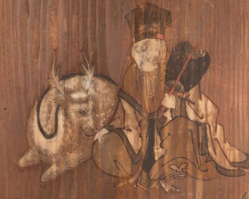 Asian Works of Art  - Ita-e Painting on a wood panel. Japan Edo