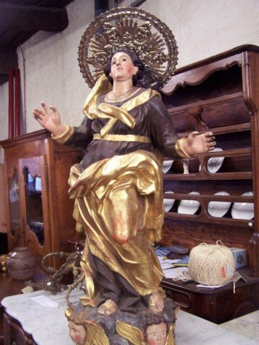 Procession statue in painted and gilded wood