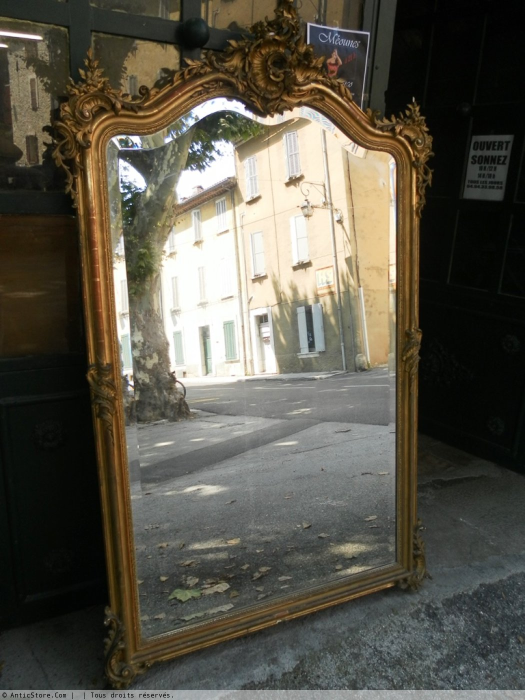 Grand miroir rocaille dor napol on iii anticstore for Grand miroir large