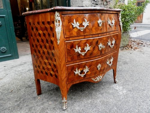 Furniture  - Chest of drawers form tomb, curved front and sides.
