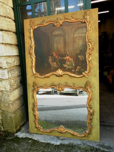 Trumeau  of the early 19th century, giltwood and oil on canvas -