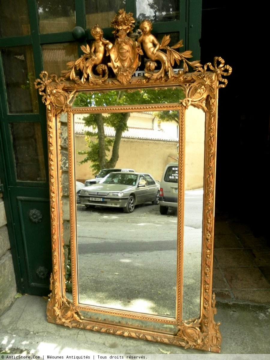 Miroir 19e si cle antiquit s et objets d 39 art d 39 poque for Miroir style