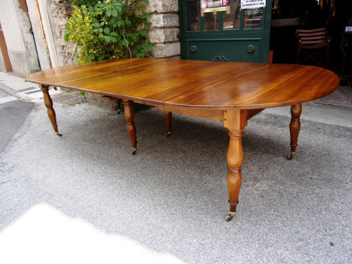 Table louis philippe restauration en noyer pieds jacob for Table 6 pieds