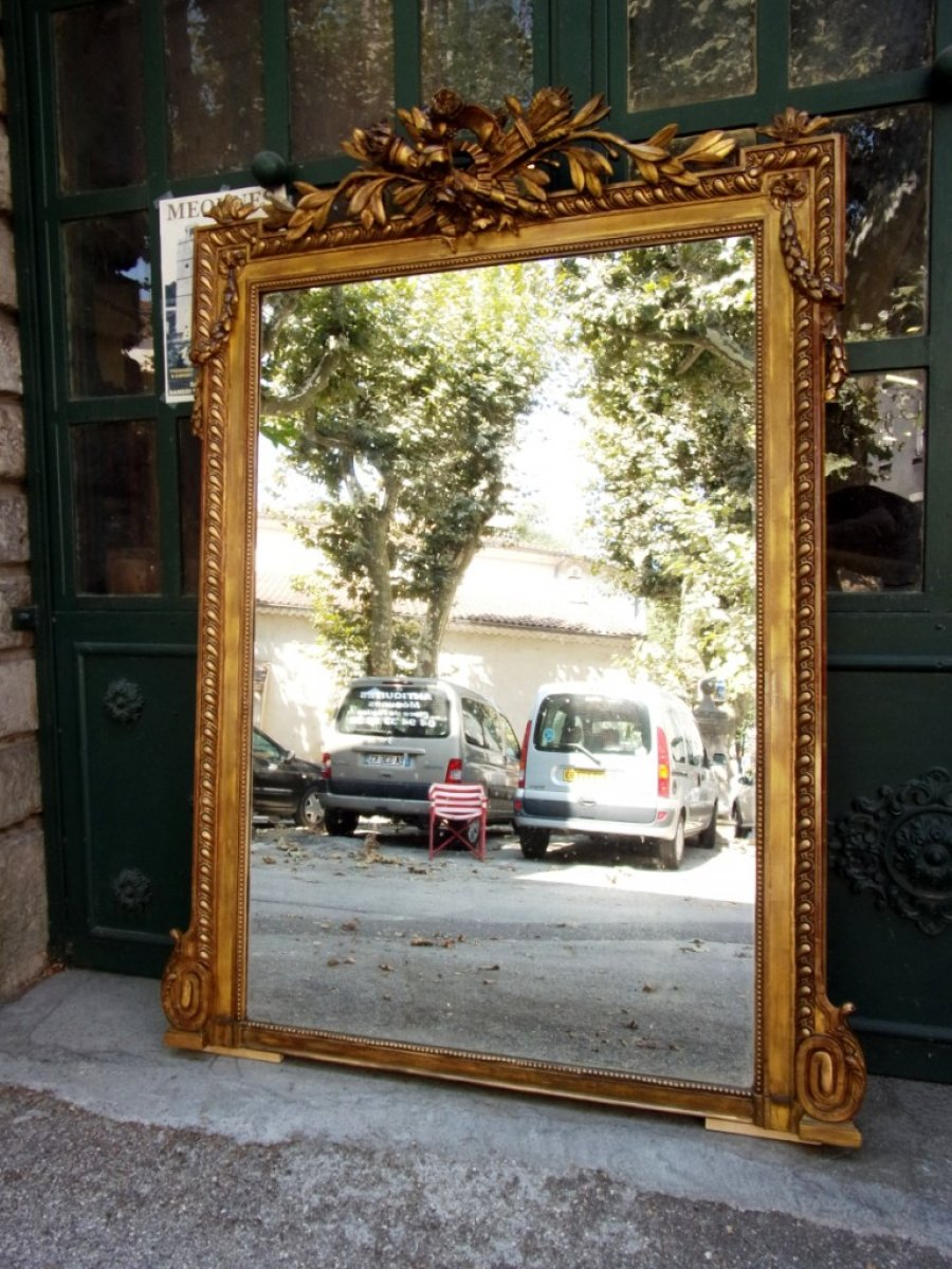 grand miroir napol on iii en bois et stuc dor xixe si cle. Black Bedroom Furniture Sets. Home Design Ideas