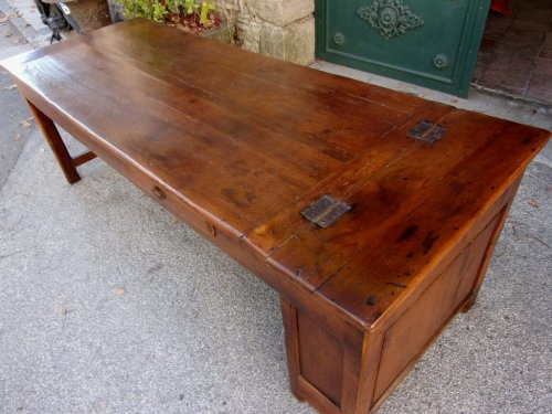 18th C farmhouse table in oak with bread compartment  -