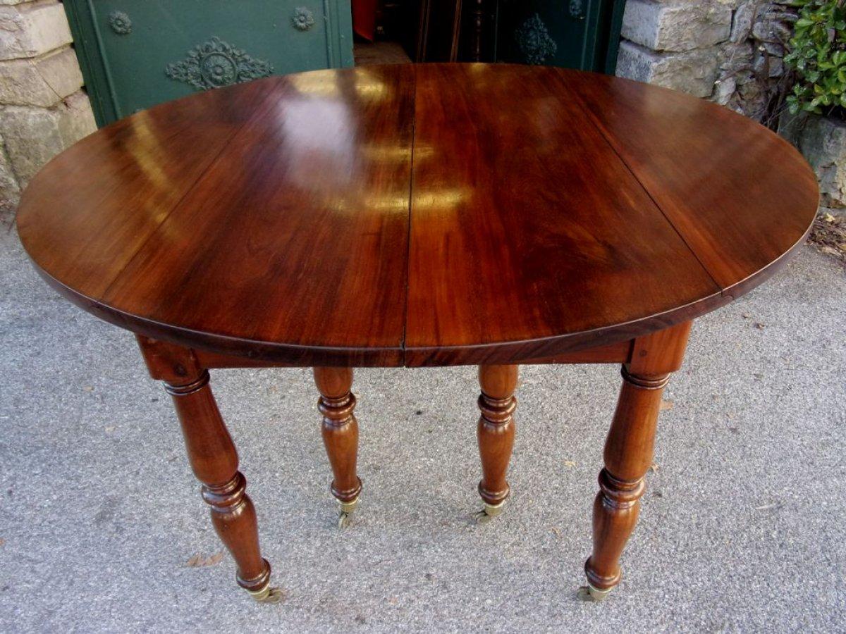 table de banquet en acajou massif d'époque restauration - xixe