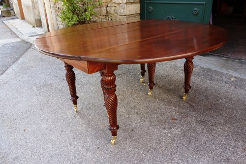 Restauration period french table in mahogany    -