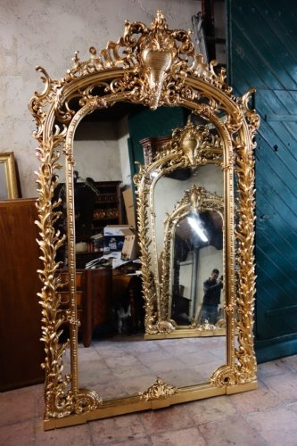 Monumental pair of giltwood mirrors, 243 cm - Napoléon III
