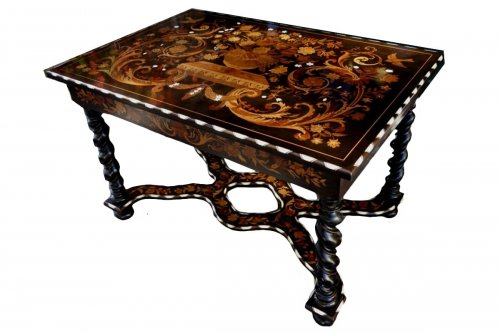Mazarin table in blackened wood and marquetry in «Jasmin», end of the 19th