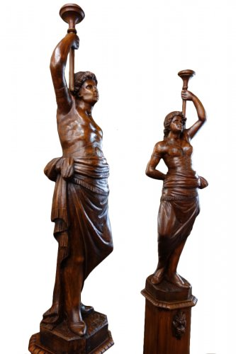 Nubian Couple in solid wood