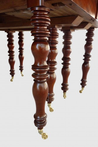 Large banquet table in solid mahogany - Furniture Style Louis-Philippe