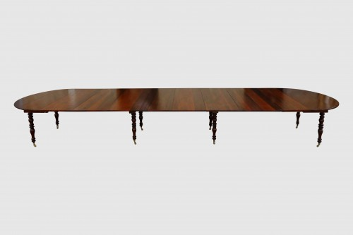 Large banquet table in solid mahogany - Louis-Philippe