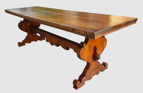 - Large Italian abbey table in walnut