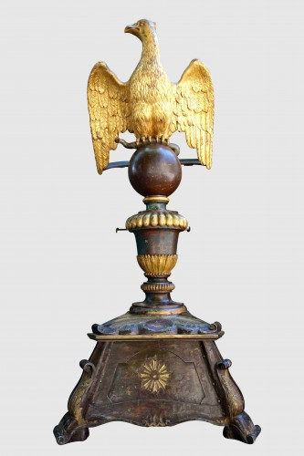 Important lectern with golden eagle and polychrome, eighteenth - Religious Antiques Style