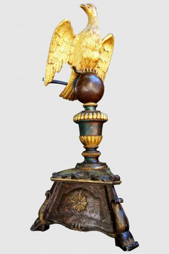 Important lectern with golden eagle and polychrome, eighteenth -