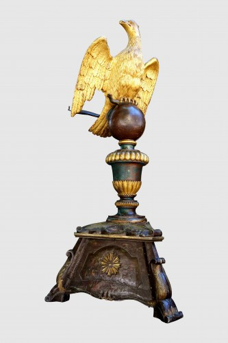 18th century - Important lectern with golden eagle and polychrome, eighteenth