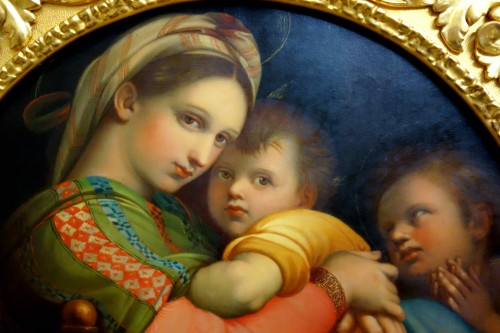 Tondo Madonna della Sedia according to Raphael - Paintings & Drawings Style Restauration - Charles X