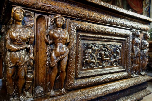 Furniture  - Large chest of the Second Renaissance with allegories of the four seasons
