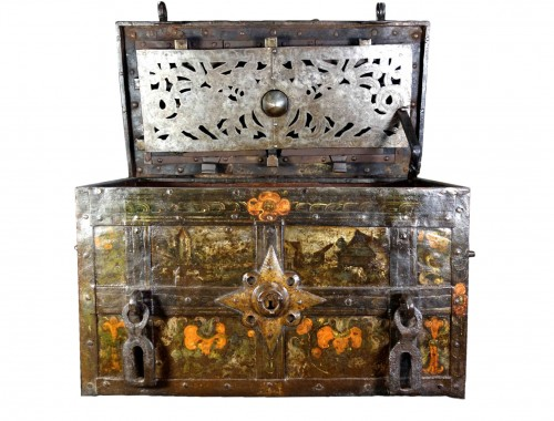 Polychrome Nuremberg chest with scenes of life, 17th century