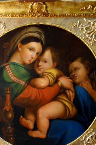 Madonna della Seggiola, according to Raphaël, Italian school early 19th century - Paintings & Drawings Style