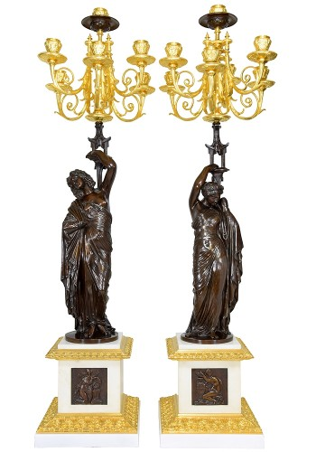 Large pair of candelabra signed James Pradier
