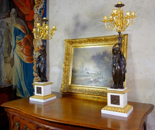Large pair of candelabra signed James Pradier - Lighting Style Napoléon III