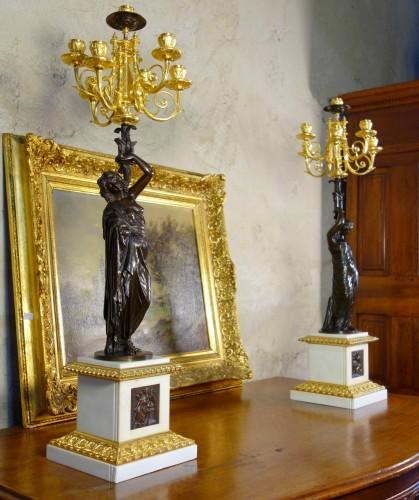 Lighting  - Large pair of candelabra signed James Pradier