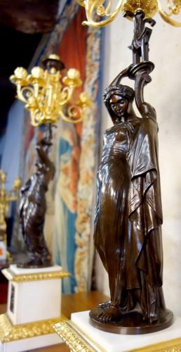 Large pair of candelabra signed James Pradier -