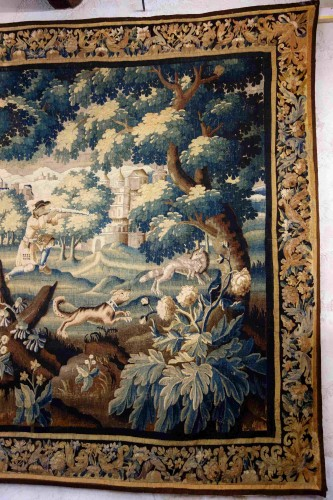 "Large Aubusson tapestry ""The Fox Hunt"", early 18th century - Louis XIV"