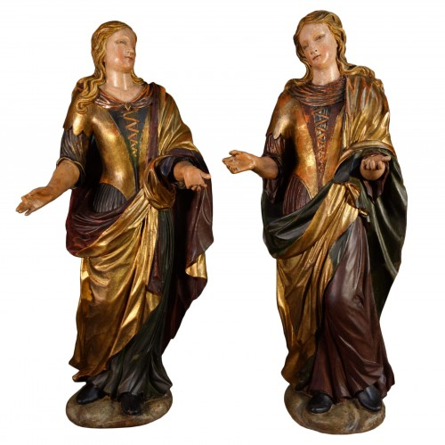 Pair of Venetian maids in polychrome and gilded wood