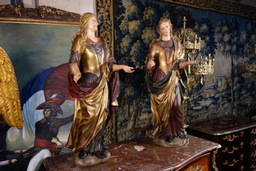 Pair of Venetian maids in polychrome and gilded wood - Sculpture Style
