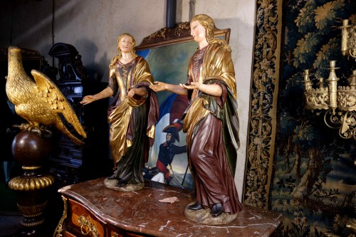 Sculpture  - Pair of Venetian maids in polychrome and gilded wood