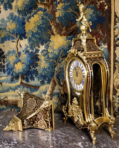 "Violin applique cartel in Boulle marquetry, ""Saint Martin à Paris"" - Horology Style Louis XV"