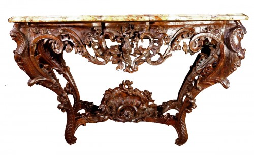Louis XV console in oak wood and Aleppo breccia marble