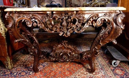 Louis XV console in oak wood and Aleppo breccia marble - Furniture Style Louis XV
