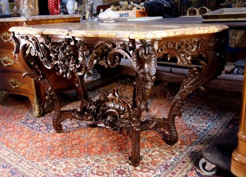 Furniture  - Louis XV console in oak wood and Aleppo breccia marble