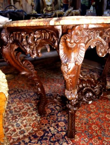 Louis XV console in oak wood and Aleppo breccia marble -