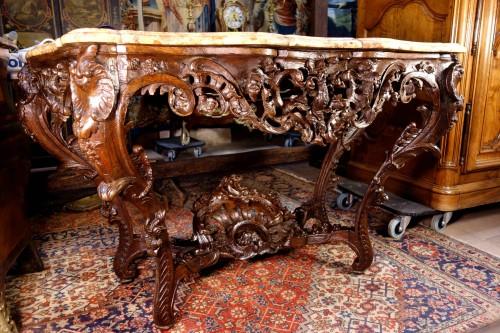 Louis XV console in oak wood and Aleppo breccia marble - Louis XV