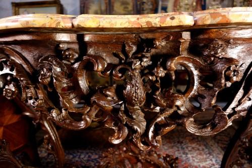 Louis XV - Louis XV console in oak wood and Aleppo breccia marble