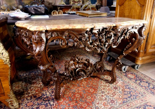 Antiquités - Louis XV console in oak wood and Aleppo breccia marble