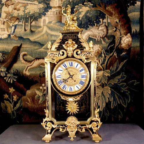 Horology  - Cartel clock in Boulle marquetry on sheath by Thuret
