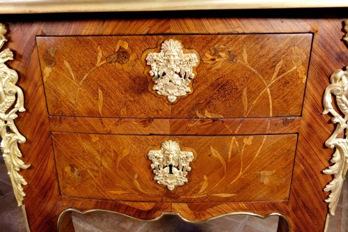 "19th century - Large desk ""Face to Face"" in floral marquetry opening with 9 drawers"